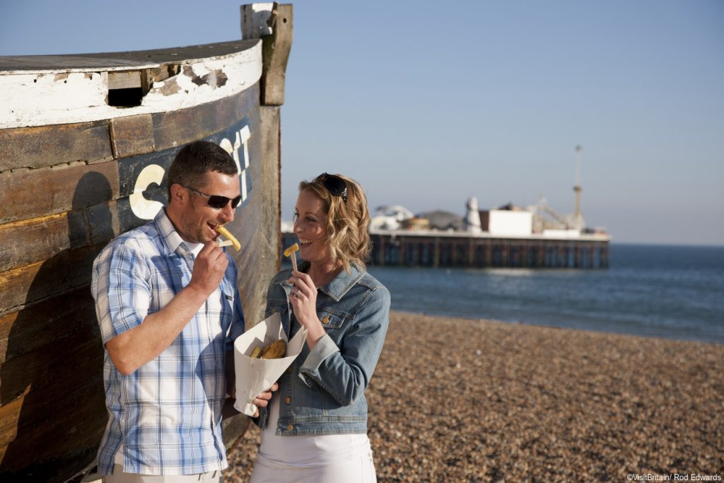 Fish and chips on the beach at Brighton