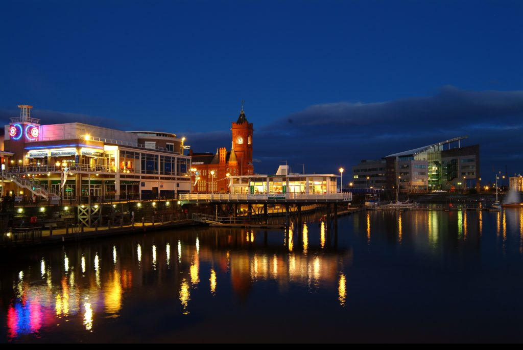 Cardiff Bay, Wales at night