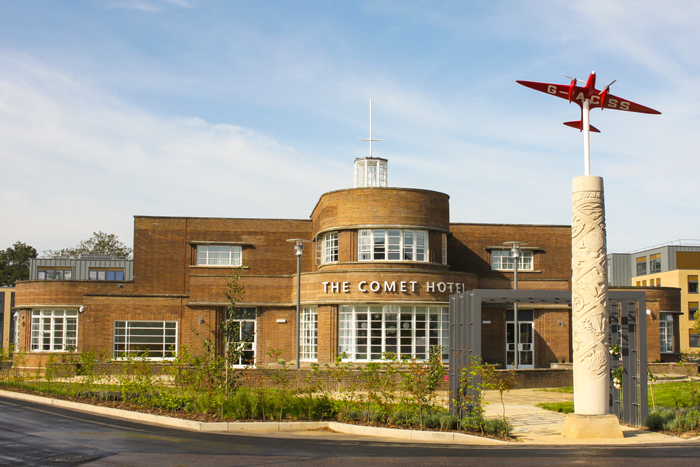 The Comet Hotel London Hatfield with the iconic plane that it's named after.
