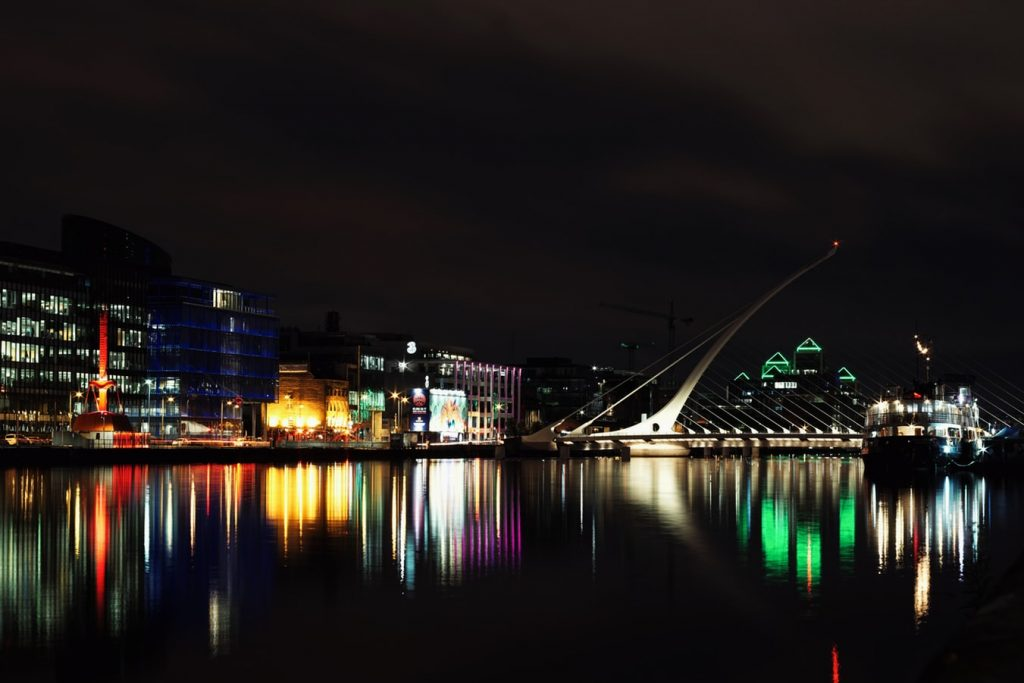 Dublin city at night reflected in water