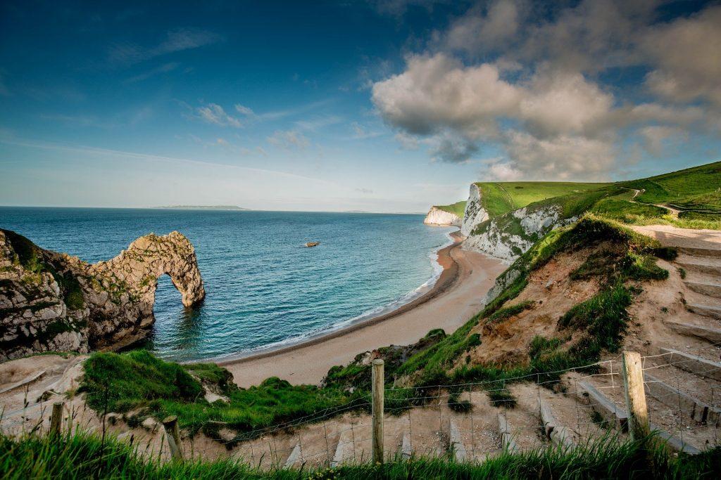 Cliffs and sea on coastline valentine's day getaway
